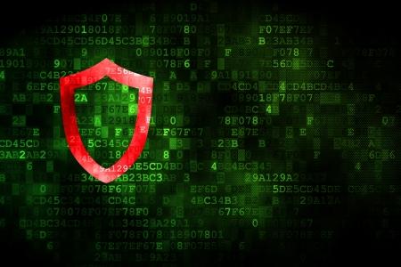 contoured: Concepto de seguridad pixelada Icono del blindaje contorneada en el fondo digital, copyspace vac�o para la tarjeta, texto, publicidad, 3d