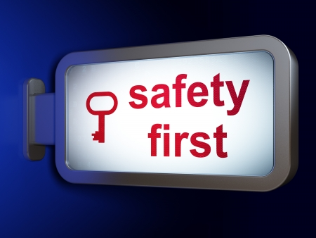 safety first: Protection concept  Safety First and Key on advertising billboard background, 3d render