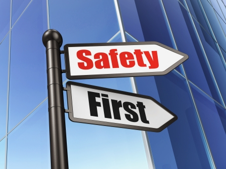 Protection concept  Safety First on Business Building background, 3d render Stock Photo - 19115104