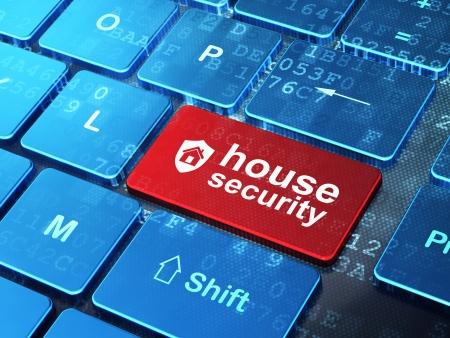 Concepto de seguridad del teclado del ordenador con el icono del escudo y de la palabra casa de seguridad en entrar fondo de bot�n, 3d Foto de archivo