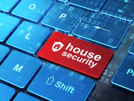 secure home: Security concept  computer keyboard with Shield icon and word House Security on enter button background, 3d render Stock Photo