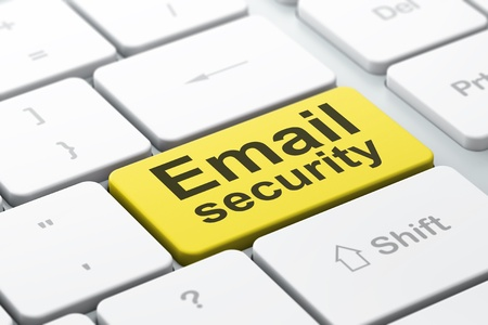 Privacy concept  computer keyboard with word Email Security, selected focus on enter button background, 3d render Stock Photo - 19115070