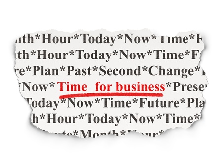 Time concept  torn newspaper with words Time for Business on Paper background, 3d render photo