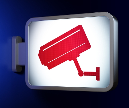 Safety concept  Cctv Camera on advertising billboard background, 3d render photo