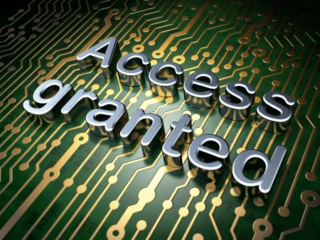 Security concept  circuit board with word Access Granted, 3d render Stock Photo - 19490859