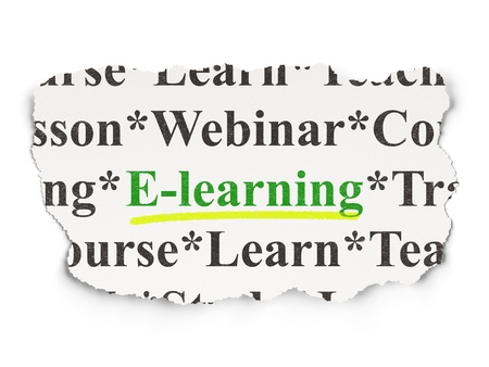 elearn: Education concept  torn newspaper with words E-learning on Paper background, 3d render