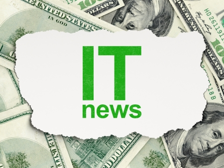 News concept  torn paper with words IT News on Money background, 3d render photo