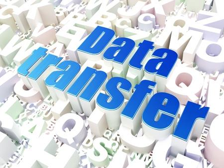 Data concept  Data Transfer on alphabet  background, 3d render photo