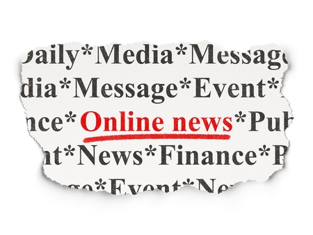 News concept  torn newspaper with words Online News on Paper background, 3d render photo
