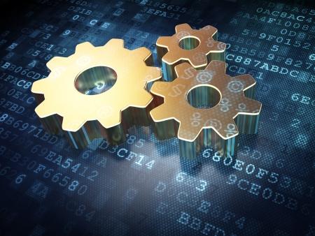 software code: Information concept  Golden Gears on digital background, 3d render