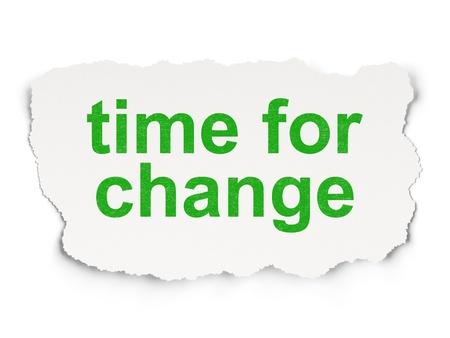 cronologia: Concepto de tiempo desgarrado papel con palabras de tiempo para el cambio en el fondo de papel, 3d Foto de archivo