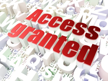 Protection concept  Access Granted on alphabet  background, 3d render Stock Photo - 19490982