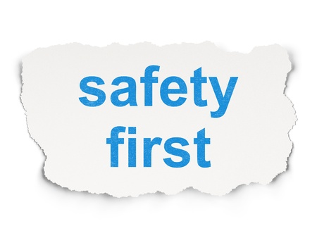 Safety concept  torn paper with words Safety First on Paper background, 3d render Stock Photo - 19490997