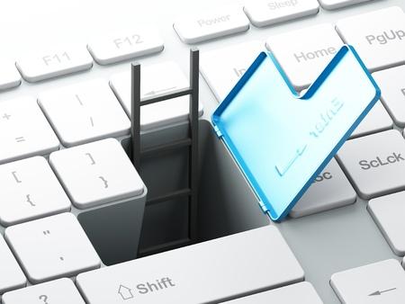 Teclado de ordenador con el paso subterr�neo y uder escalera tecla Enter, render 3d