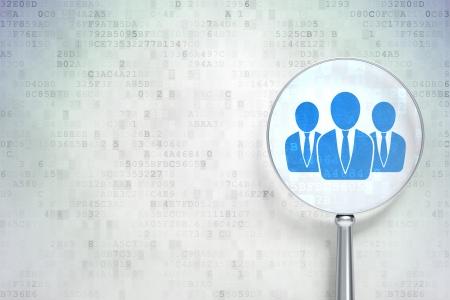 bussines: Vergrootglas optisch glas met Business People pictogram op digitale achtergrond, lege copyspace voor kaart, tekst, reclame, 3d render Stockfoto
