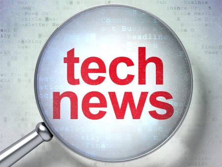 Magnifying optical glass with words Tech News on digital background, 3d render photo
