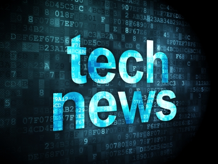 News concept  pixelated words Tech News on digital background, 3d render Stock Photo - 19619832
