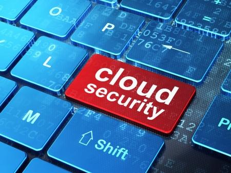 Nube concepto de tecnología de teclado de la computadora con la palabra Cloud Security en introducir fondo de botón, 3d