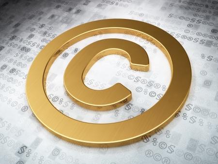 information technology law: Law concept  Golden Copyright on digital background, 3d render