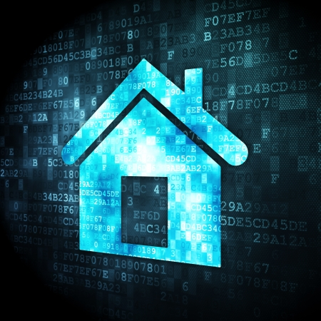 Privacy concept  pixelated Home icon on digital background, 3d render photo