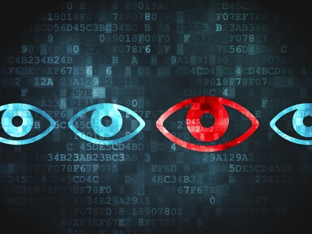 Safety concept  pixelated Eye icon on digital background, 3d render Stock Photo - 19619926