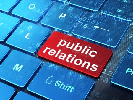 relaciones publicas: Concepto de marketing teclado de ordenador con palabra Relaciones Públicas en introducir fondo de botón, 3d