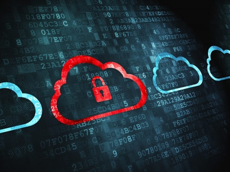 Networking concept  pixelated Cloud Whis Padlock icon on digital background, 3d render photo