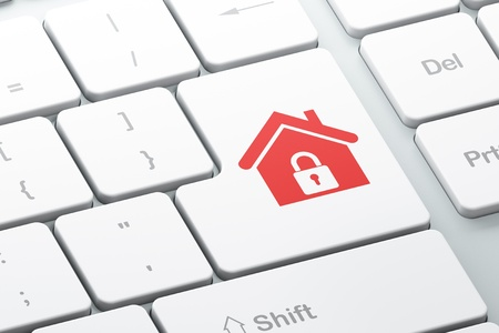 Privacy concept  Enter button with Home on computer keyboard background, 3d render photo