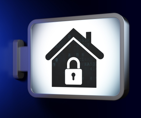 Security concept  Home on advertising billboard background, 3d render photo