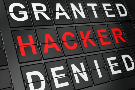 Protection concept  Hacker on airport board background, 3d render Stock Photo - 19619871
