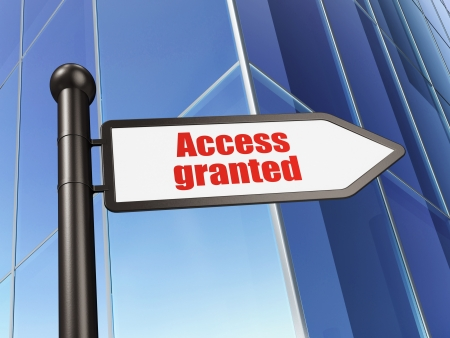 Security concept  Access Granted on Building background, 3d render Stock Photo - 19619902