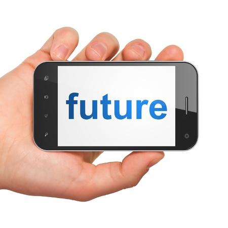 cronologia: Concepto Cronolog�a mano que sostiene smartphone con la palabra futuro en la pantalla del tel�fono m�vil inteligente gen�rico en mano sobre fondo blanco Foto de archivo