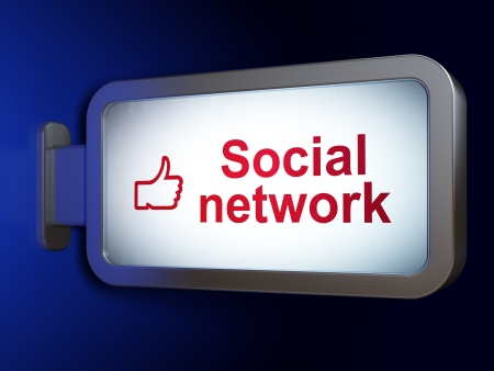 Social network concept  Social Network and Like on advertising billboard background, 3d render Stock Photo - 19619970