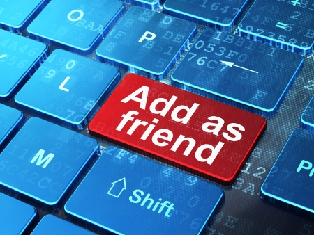 Social network concept  computer keyboard with word Add as Friend on enter button background, 3d render photo