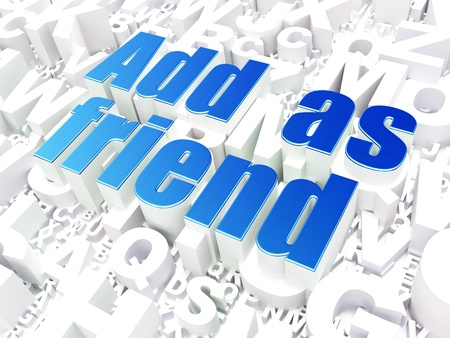 Social network concept  Add as Friend on alphabet  background, 3d render photo