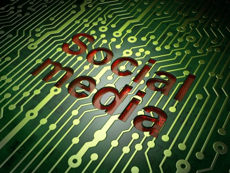 Social network concept  circuit board with word Social Media, 3d render Stock Photo - 19620041