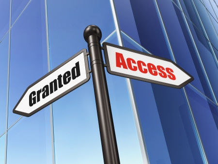 access granted: Protection concept  Access Granted on Building background, 3d render Stock Photo