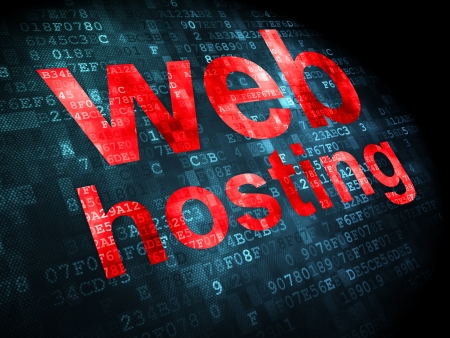 SEO web design concept  pixelated words Web Hosting on digital background, 3d render Stock Photo - 19636034
