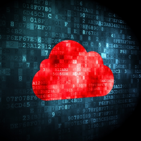 Cloud computing concept  pixelated Cloud icon on digital background, 3d render Stock Photo - 19636035