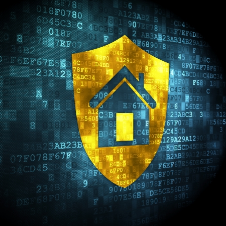 Protection concept  pixelated Shield icon on digital background, 3d render Stock Photo - 19636038