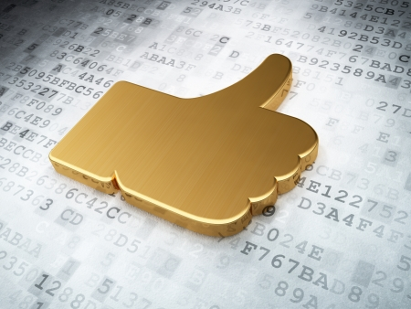 Social network concept  Golden Like on digital background, 3d render photo