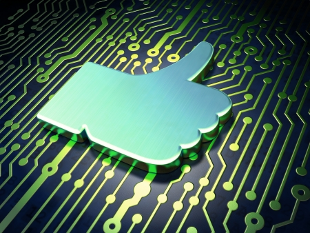 Social media concept  circuit board with Like icon, 3d render photo