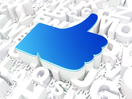 Social media concept  Like on alphabet background, 3d render photo