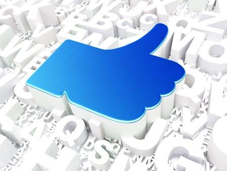 Social media concept  Like on alphabet background, 3d render Stock Photo - 19702894