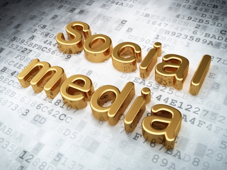 Social media concept  Golden Social Media on digital background, 3d render Stock Photo - 19702899