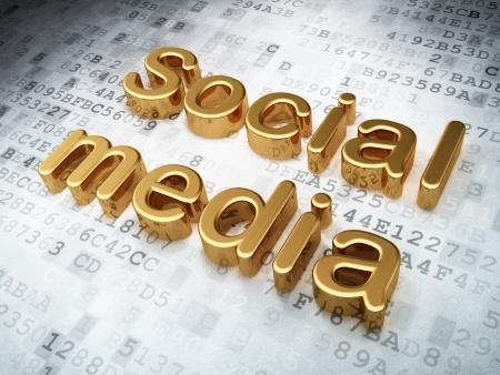 Social media concept  Golden Social Media on digital background, 3d render Stock Photo - 19702899