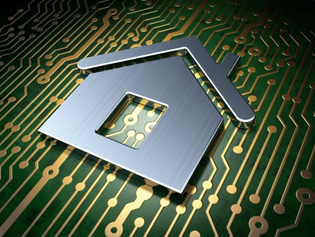 Safety concept  circuit board with Home icon, 3d render photo