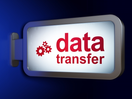 Information concept  Data Transfer and Gears on advertising billboard background, 3d render Stock Photo - 19703960