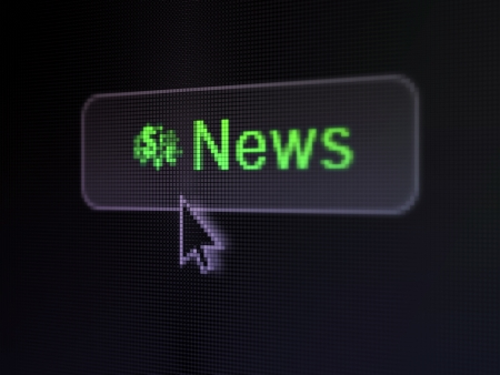 News concept  pixelated words News and Finance Symbol icon on button whis cursor on digital computer screen background, selected focus 3d render photo