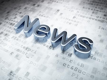 Noticias concepto Silver Noticias sobre fondo digital, 3d